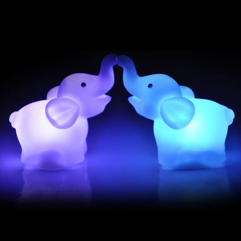 2PCS CUTE ELEPHANT COLOR CHANGING LED LIGHT NIGHT LAMP
