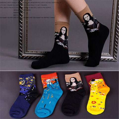 *50% OFF* SPECIAL VAN GOGH ABSTRACT ART CREW SOCKS - 4 PACK