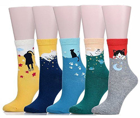 "Back To Search Results For ""cat"" - Cute Cat Women's Cotton Crew Socks [Buy 1 - Get 4 FREE!]"