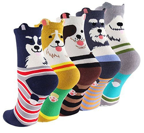 No Show & Liner Socks - CUTEST SOFT DOG COLORFUL COTTON SOCKS *BUY 1 - GET 4 FREE*