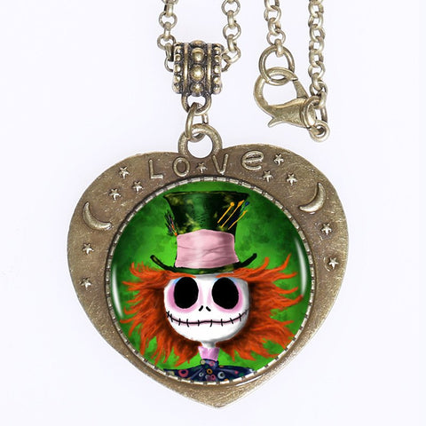 Torques - TIM BURTONS MAD HATTER JACK SKELLINGTON HEART SHAPED PENDANT NECKLACE *FREE SHIPPING*
