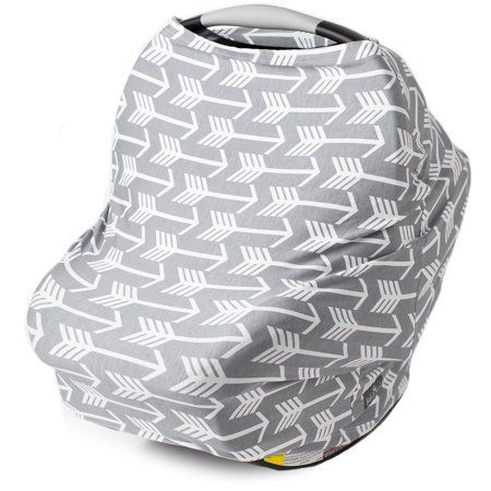 New Multi Use Car Seat & Nursing Cover, Grey Arrows