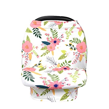 New Multi Use Car Seat & Nursing Cover, White Pink Flowers