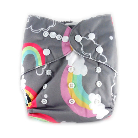 New Alva Baby Cloth Diaper, Grey Rainbow