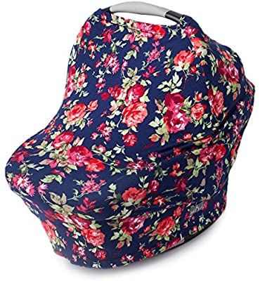 New Multi Use Car Seat & Nursing Cover, Navy Floral