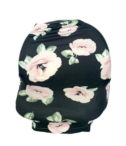 New Multi Use Car Seat & Nursing Cover, Black Pink Flowers