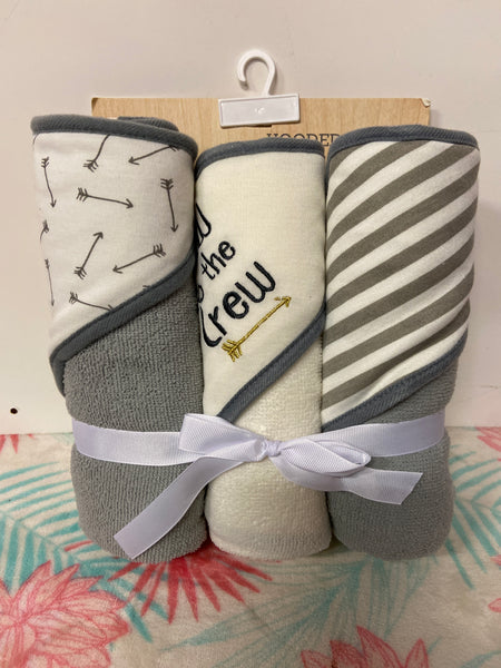 New Modern Baby Hooded Towels 3pk