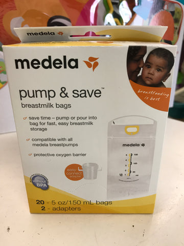 New Medela Pump and Save, 20ct/Adapters
