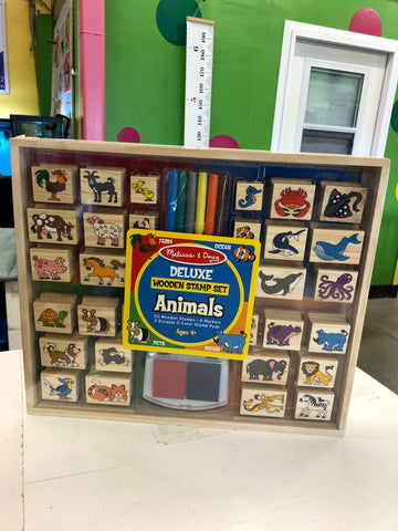 New Melissa & Doug Deluxe Animals Wooden Stamp Set