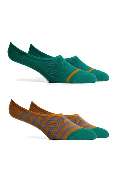 Richer Poorer - Theo - Green & Brown No-Show Socks
