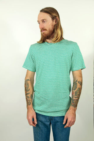 Jungmaven - Baja 5oz Pocket T Shirt <br>Basil Green Yarn Dyed Stripe