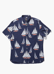 Barney Cools - Yacht Club Button-Up SS Shirt Navy