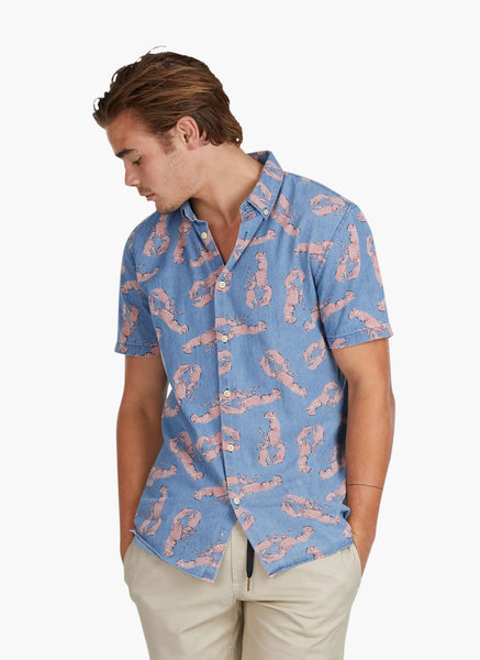 Barney Cools - Button Up SS Shirt Denim Lobster