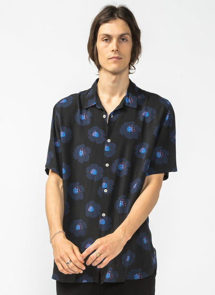 Barney Cools - Holiday Short Sleeve Shirt - Black Hibiscus