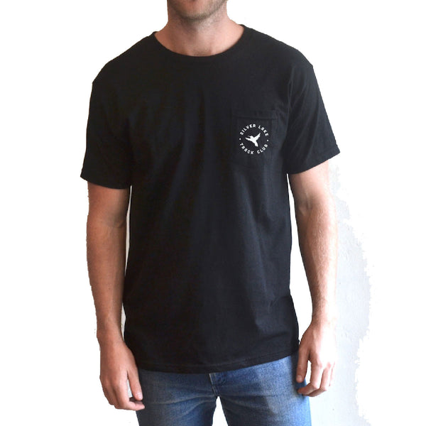 "Silver Lake Track Club - ""Hummingbird"" Pocket Tee Black"