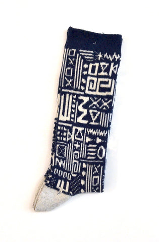 Anonymous Ism - Knit Socks African Geo Crew Blue