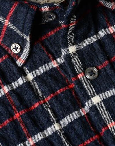 Relwen - Seersucker Flannel - Dark Navy/Cream/Red