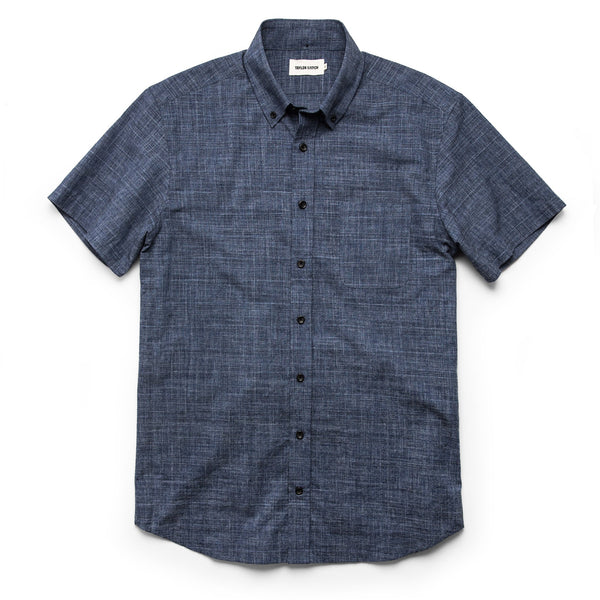 Taylor Stitch - Short Sleeve Jack in Navy Slub Glen Plaid