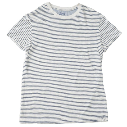 Grayers - Feeder Stripe Crew T Shirt Cream Navy