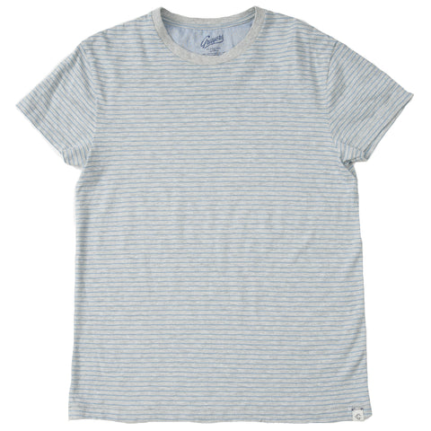 Grayers - Feeder Stripe Crew T Shirt Grey Heather / Blue Shadow