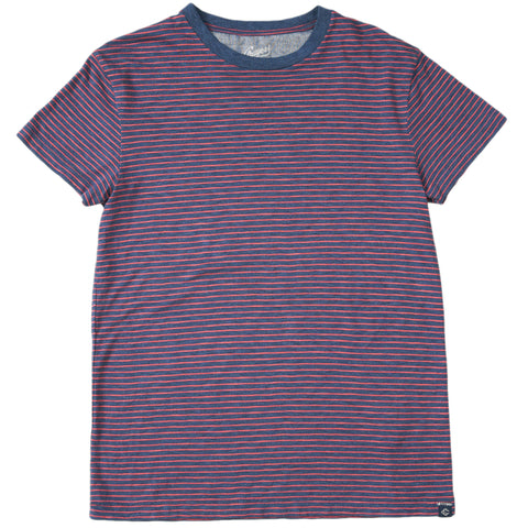 Grayers - Feeder Stripe Crew T Shirt Navy Heather / Red