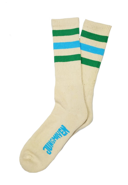 Jungmaven Long Crew Socks<br>Kelly Green/Pool Blue Stripes