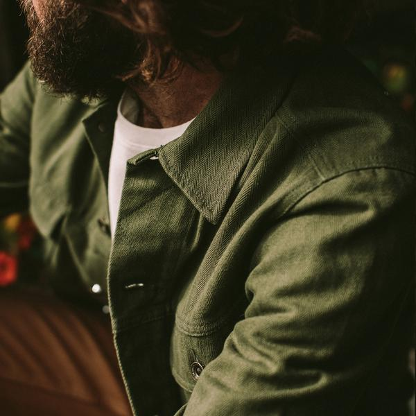 Taylor Stitch - The Long Haul Jacket - Washed Olive Herringbone