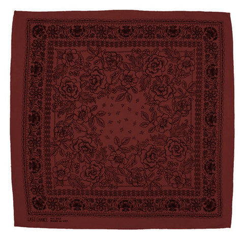 Last Chance - Handmade Raw Silk Bandana <br> Madder Red