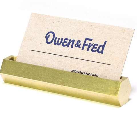 Owen & Fred - Hex Business Card Holder <br>Brass