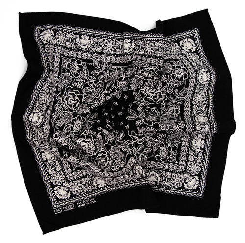 Last Chance - Handmade Cotton Bandana <br> Pitch Black