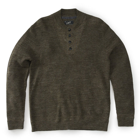 Grayers - Wadsworth Wool Linen Textured Henley Olive