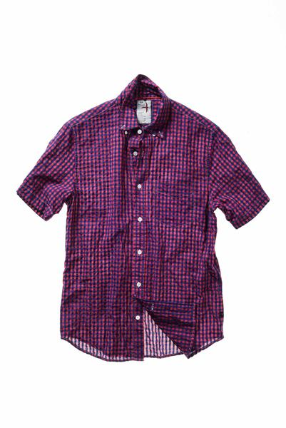 Relwen - Half-Sleeve Checks Shirt - Red/Navy