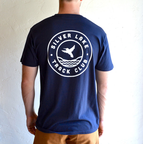 "Silver Lake Track Club - ""Hummingbird"" Tee Navy"