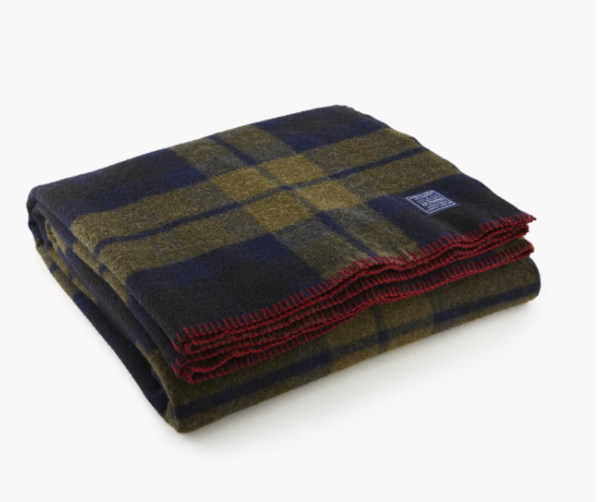 Faribault Foot Soldier Shadow Plaid Wool Blanket