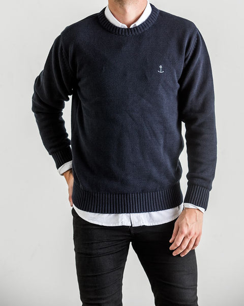 The Blue Uniform <br> 'Marcus' Knit Sweater Navy Blue