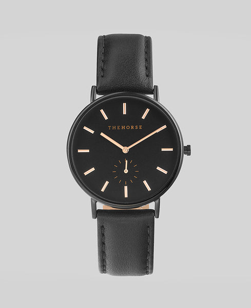 The Horse - The Classic Watch <br>Black/Rose Gold Index/Black Band