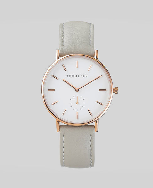 The Horse - The Classic Watch <br>Rose Gold/White Face/Grey Band