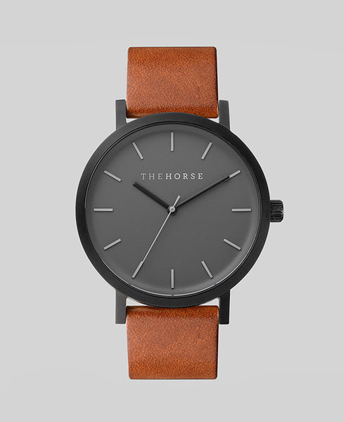 The Horse - The Original Watch <br>Matte Black/Tan Band