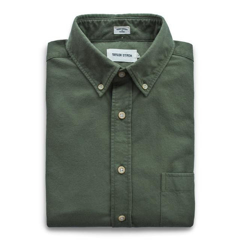Taylor Stitch - Oxford Jack Shirt <br> Brushed Cotton Army Green