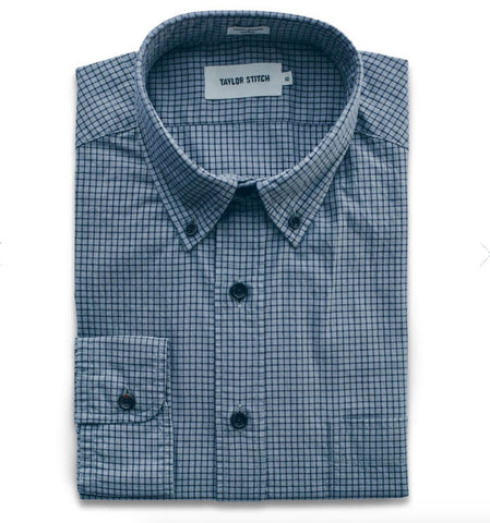 Taylor Stitch - Oxford Jack Shirt <br> Grey & Navy Box Check