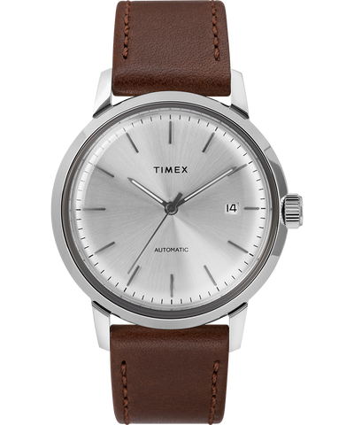 Timex - Marlin 40mm Automatic Leather Strap Watch Brown/Silver-Tone