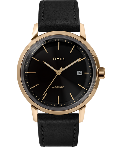 Timex - Marlin 40mm Automatic Leather Strap Watch Black/Gold