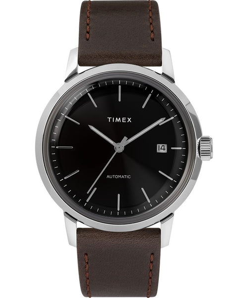 Timex - Marlin 40mm Automatic Leather Strap Watch Black/Silver/Brown Strap