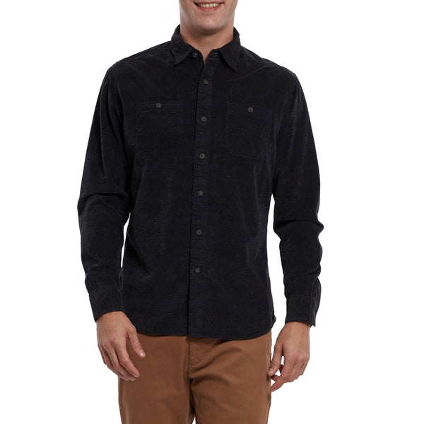 Grayers - Hayes Brushed Corduroy Shirt Charcoal