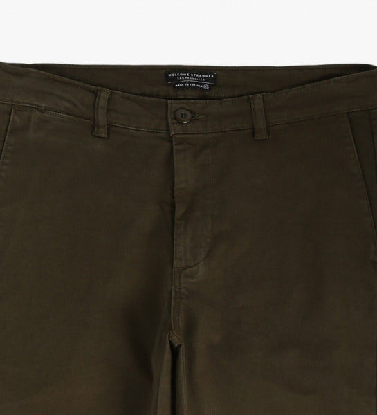 Welcome Stranger - Overdyed Stretch Chinos <br>Dark Olive Green