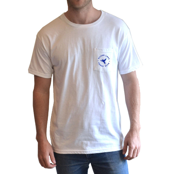 "Silver Lake Track Club - ""Hummingbird"" Pocket Tee White"