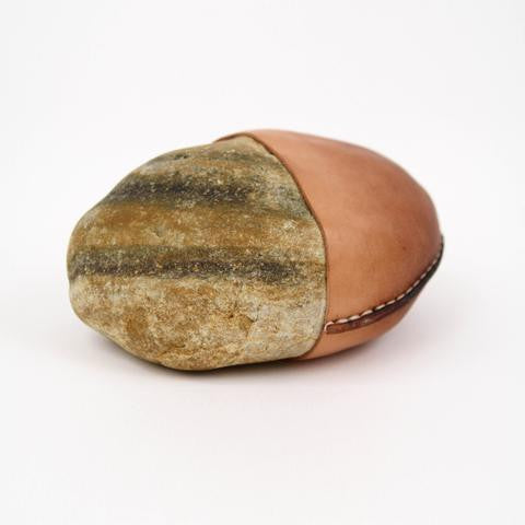 Made Solid Natural Leather Wrapped Stone - Small