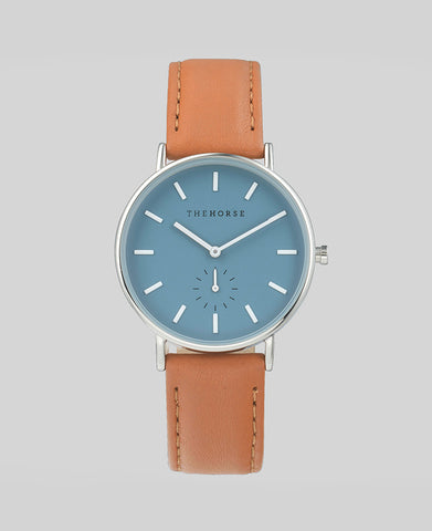 The Horse - The Classic Watch <br> Polished Steel/Blue Dial/Tan Band