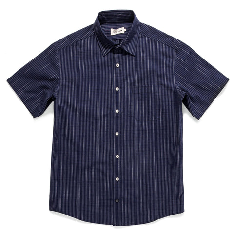Taylor Stitch - The Short Sleeve California - Navy Slub Stripe
