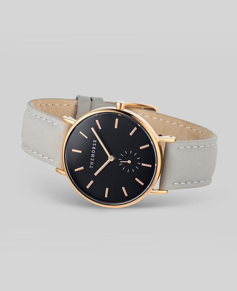 The Horse - The Classic Watch <br>Rose Gold/Black Dial/Grey Leather Band